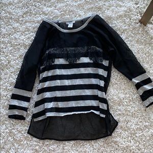 Quarter Sleeve striped Black Shirt